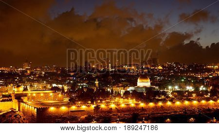 Jerusalem old city lights. Bright lights at night over Jerusalem old city Temple mount, Dome of the Rock and Al Aqsa mosque.