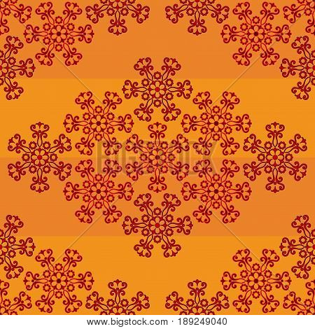 Abstract Tile Seamless Background, Ornament with Symbolical Colorful Floral Patterns. Vector