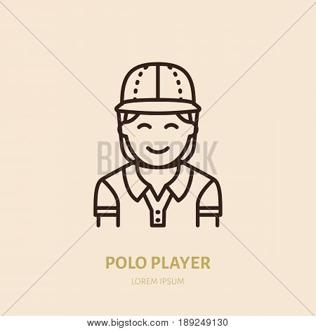Horse polo player in shirt and helmet flat line icon. Logo for equestrian club, horserace equipment store.