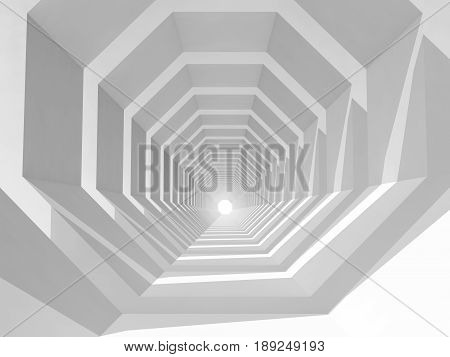 Empty White Tunnel Perspective, 3D Illustration