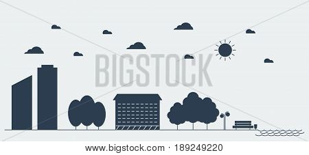 Flat silhouette design graphic image concept, website elements layout of Urban Landscape. Icons Collection of Creative Work Flow Items. Vector Illustration