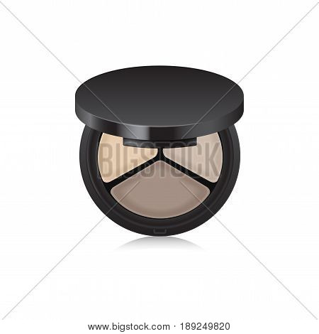 Makeup shadow, bronzer, corrector in black case. Opened box isolated on white background. Mock up template for your design
