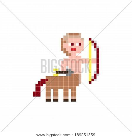 Vector color pixel art toy centaur the man - horse with bow Sagittarius minecraft style