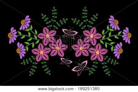 Embroidery stitches imitation fashion pattern with folk flower and butterfly. Floral embroidery on black background. Embroidery flower vector.