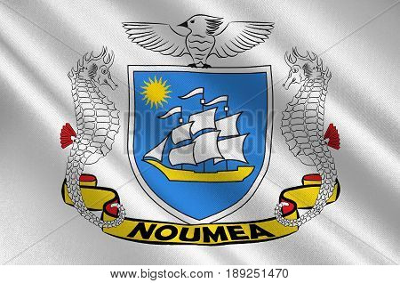 Flag of Noumea is the capital and largest city of the French special collectivity of New Caledonia. 3d illustration