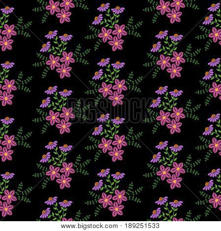 Seamless pattern with embroidery stitches imitation little flower and green leaf. Floral embroidery pattern background for printing on fabric paper for scrapbook gift wrap.