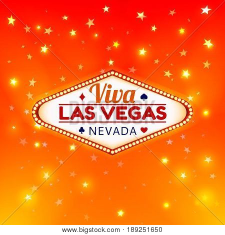 Las Vegas Casino Sign.Casino Color Signboard Viva Las Vegas Nevada w Diamonds suit, Hearts suit, Spades symbol, Crest symbol in Frame of Light Bulbs on Gold Gleamig Stars, Gold Shining Stars Background