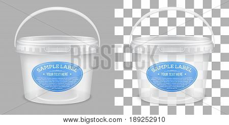 Vector labeled transparent empty plastic bucket for storage of food honey or ice cream. Front view. Packaging mockup illustration.