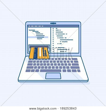 Flat line illustration of freelance programming code income online work laptop or notebook atm cash machine earnings in credit card refill check of balance. Digital eCommerce business concept
