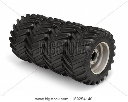 Off-road Wheel Isolated On White Background. 3D Illustration.