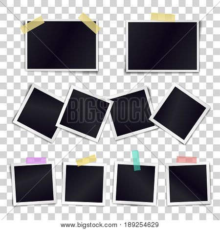 Vector Collection of blank photo frames sticked on duct tape to transparent background. Template mockups for design