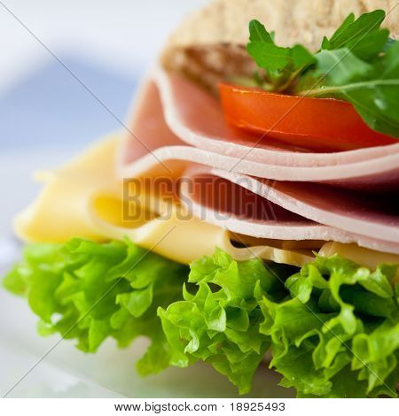 Closeup of sandwich with ham,cheese and fresh vegetables