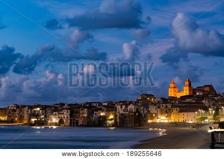 Touristic and vacation pearl of Sicily small town of Cefalu Sicily south Italy sea view