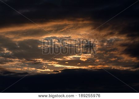 The Sun Setting Behind Intense Dark Clouds
