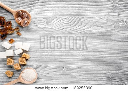 Lumps Of Sugar With Spoons Sweet Set On Gray Table Background Top View Mockup