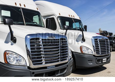 Indianapolis - Circa June 2017: Freightliner Semi Tractor Trailer Trucks Lined up for Sale VIII