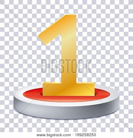 Gold Number 1 on the podium icon, one award pedestal, geometry shape, transperent background, vector design for you project