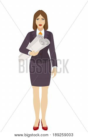 Businesswoman holding the project plans. Full length portrait of businesswoman character in a flat style. Vector illustration.