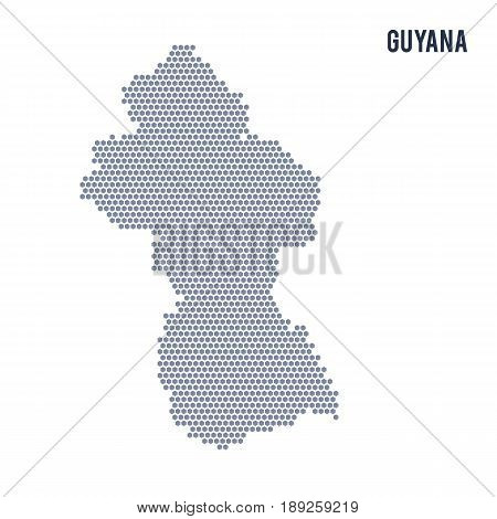 Vector Hexagon Map Of Guyana On A White Background