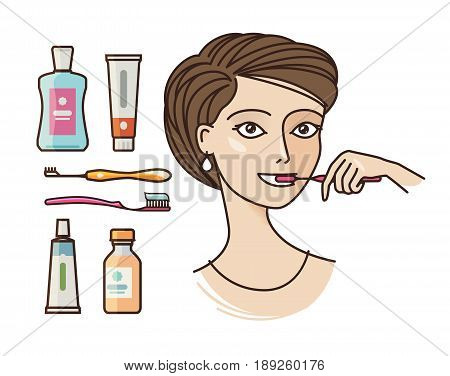 Beautiful girl brushing teeth. Toothpaste, toothbrush, personal hygiene icon or symbol. Vector illustration isolated on white background