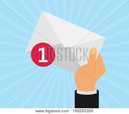 White envelope letter with counter notification postman hand concept of incoming email message mail delivery service