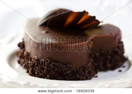 Delicious heart shaped chocolate cake