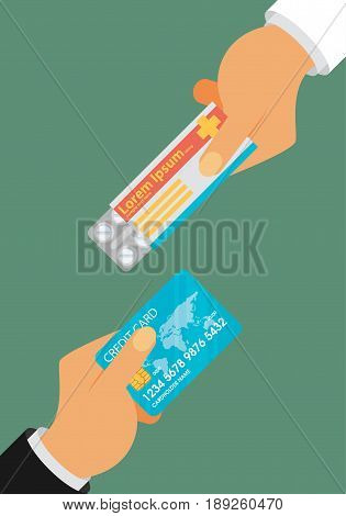 Buying medical pills in blister pack for money bills concept. Hand giving money for medicine. Flat design