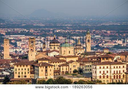 Beautiful view at buildings in Bergamo, Italy.