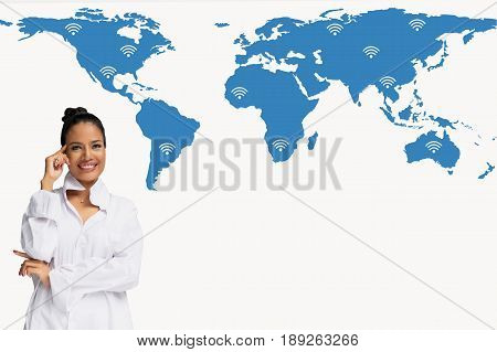 Buiness women thinking on world map network and wireless communication network abstract image visual
