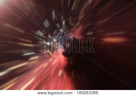 Flight At The Boundary Of The Event Horizon. Distortion Of Space-time 3D Illustration