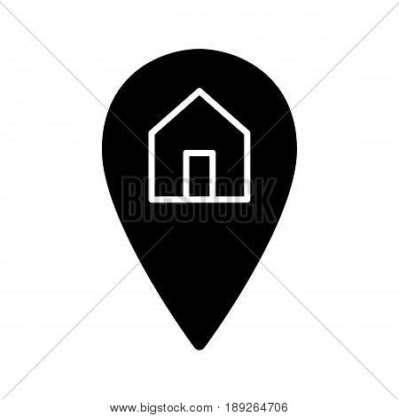 Map pointer and house simple vector icon. Black and white illustration of geolocation. Solid linear icon. eps 10