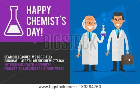 Concept Chemists Day Professor And Assistant Smiling