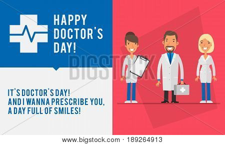 Concept Doctors Day Group People Two Womans And Men Doctor