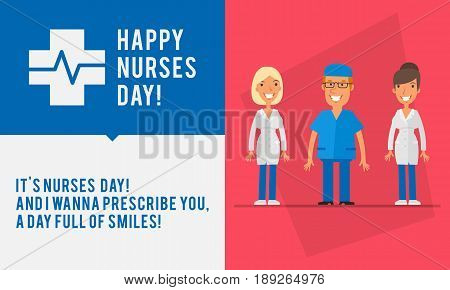Concept Nurses Day Group People Two Womans And Men Nurse
