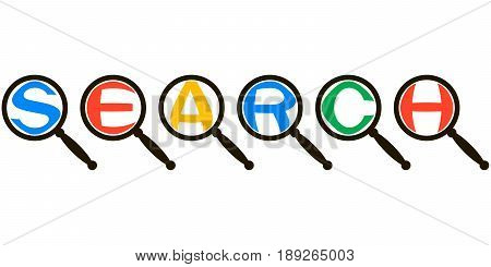 SEARCH system icon concept, magnified letters magnifier, vector Colorful letters word search in magnifying glass