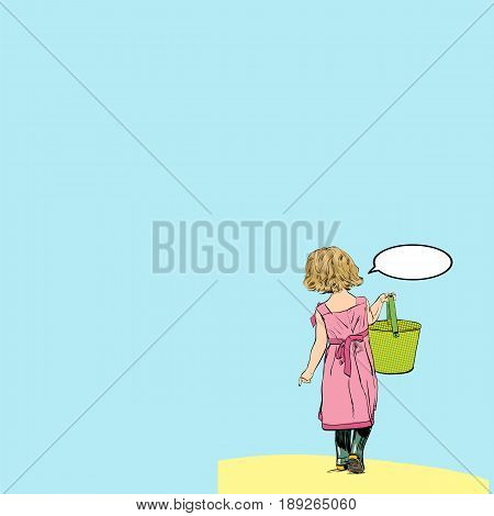 Little girl in a long skirt. Little girl with toy bucket. The view from the back