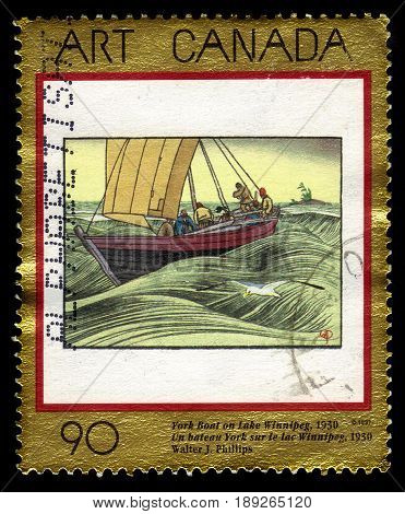 CANADA - CIRCA 1997: A stamp printed in Canada shows York Boat on Lake Winnipeg, 1930, painting by Walter J. Phillips, series canadian art, circa 1997