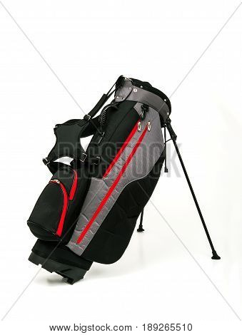 Golf Leather Stand Bag Black and Gray Color with Red Trimmings on White Background
