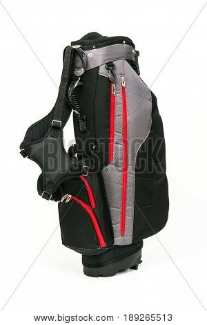 Golf Leather Bag Black and Gray Color with Red Trimmings on White Background