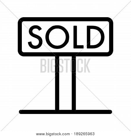 Sold tag simple vector icon. Black and white illustration of sold real estate. Outline linear icon. eps 10