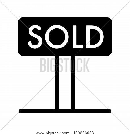 Sold tag simple vector icon. Black and white illustration of sold real estate. Solid linear icon. eps 10