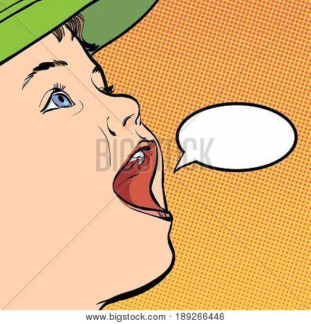 Vector cartoon boy with a cap. Happy child. Happy crying boy