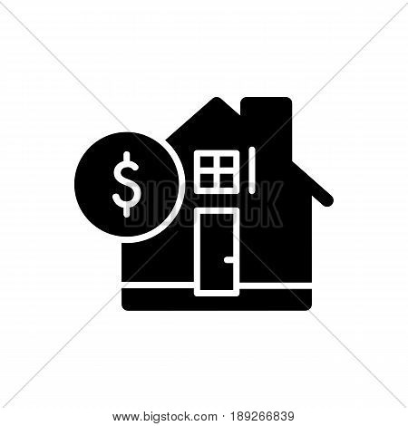 House and dollar simple vector icon. Black and white illustration of real estate. Solid linear icon. eps 10