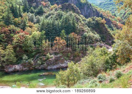 The Pont du Diable or Devil Bridge is a Roman bridge that spans the river Ardeche at about 10 m altitude.