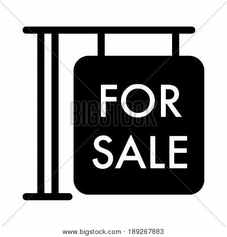 For sale symbol simple vector icon. Black and white illustration of sale. Solid linear house for sale icon. eps 10