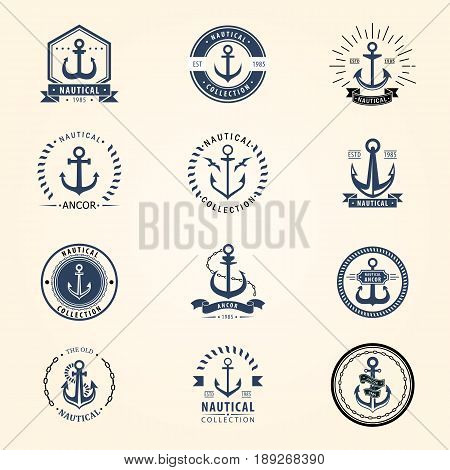 Vintage retro anchor badge and label. Vector sign sea ocean graphic element nautical naval symbol. Marine emblem traditional design illustration.
