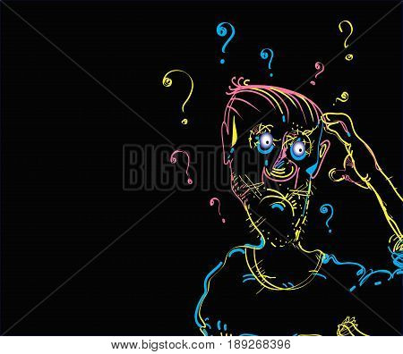 Illustration of a man scratching his head in stress, on black