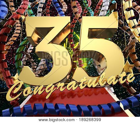 Gold number thirty five with the word congratulate. 3D illustration