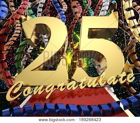 Gold number twenty five with the word congratulate. 3D illustration