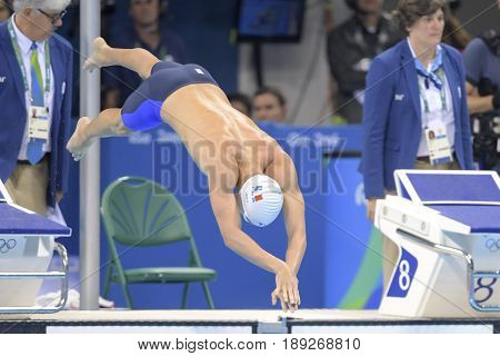 Rio de Janeiro Brazil - august 13 2016: JOLY Damien (FRA) during men's 1500 metre swimming freestyle of the Rio 2016 Olympics Games Rio 2016